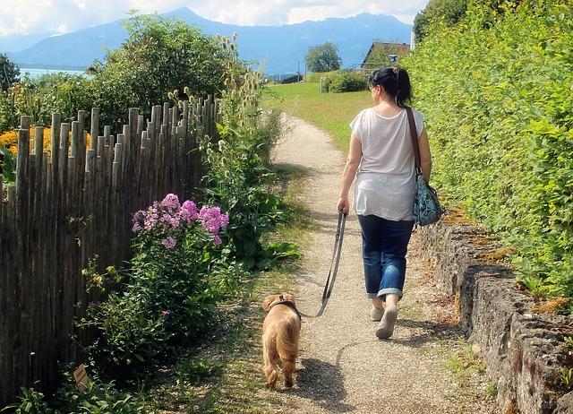žena na procházce se psem